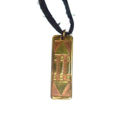 Pandantiv Luxor / Atlantis din alamă pe șiret negru din piele