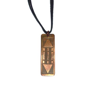 Pandantiv Luxor / Atlantis din cupru pe șiret negru din piele