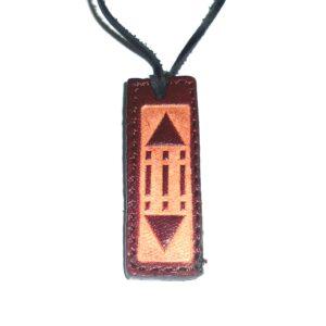 Pandantiv Luxor / Atlantis din piele maro pe șiret negru din piele