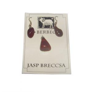 Set din Jasp cercei + pandantiv pentru Berbec